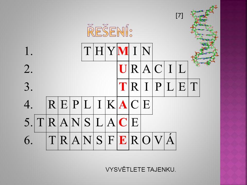 řešení: 1. T H Y M I N 2. U R A C L 3. P E 4. K 5. S 6. F O V Á [7]